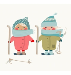 children in winter cloth and skies vector image