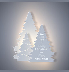 christmas holiday banner with paper cut style fir vector image