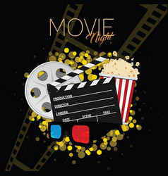 Cinema and movie night black background two vector