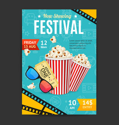 cinema movie festival placard banner card vector image