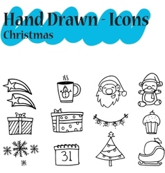 Collection Christmas icon set hand draw vector