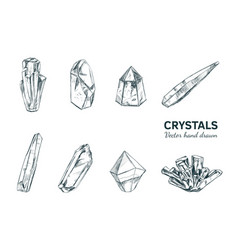 Crystals and minerals vector