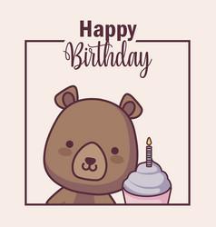 Cute bear with cupcake happy birthday card vector
