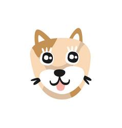 cute brown dog face funny cartoon animal vector image