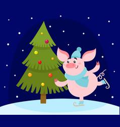 Cute cartoon pig skating and christmas tree vector