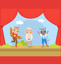 Cute kids actors performing on stage talented vector