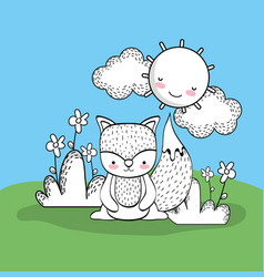 cute squirrel with happy sun and clouds vector image