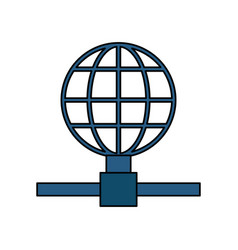 Earth globe diagram global communications icon vector