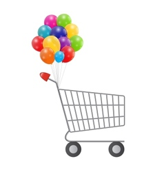 Empty Supermarket Shopping Cart Icon Isolated on vector image