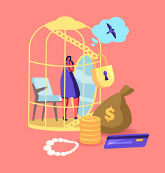 female sitting in luxury golden cage dreaming of vector image