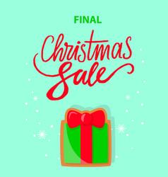 final christmas sale with gift box on snowflakes vector image