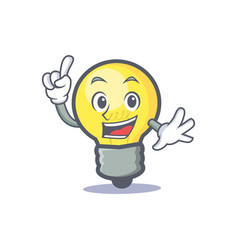 Finger light bulb character cartoon vector
