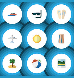 Flat icon beach set of beach sandals sunshine vector