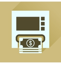 Flat icon with long shadow ATM cash vector