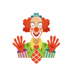 Funny circus clown in traditional makeup showing vector