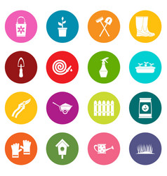 gardening icons many colors set vector image