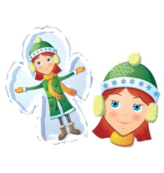 Girl making snow angel vector