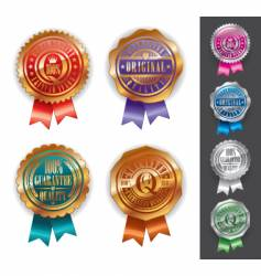 gold and silver quality seals vector image