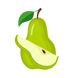 green pear with green leaves and pear slic vector image