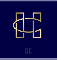 H and c letters gold monogram jewelry luxury vector
