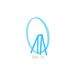 hand drawing icon dubai eye - largest in vector image