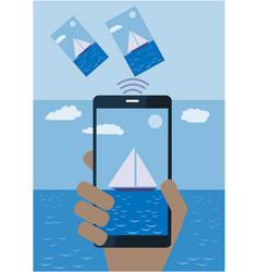 Hand with mobile phone sending photo from vacation vector