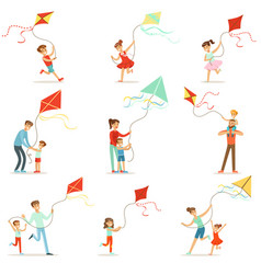 Happy kids running with kite parents help vector