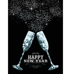 Happy new year toast glass low polygon silver vector image