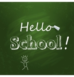 Hello school written on the green chalkboard with vector