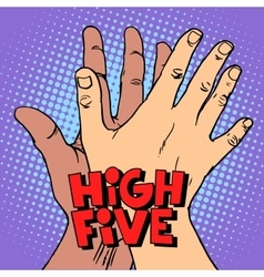High five greeting white black hand vector