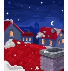Houses at night vector