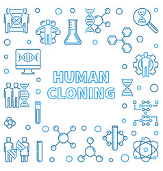 Human cloning outline square frame vector