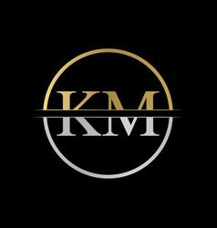 initial km letter logo design abstract letter km vector image