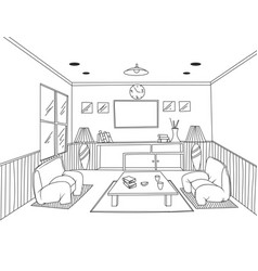 Interior living room scene on a white vector