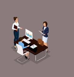 Isometric set business conception vector