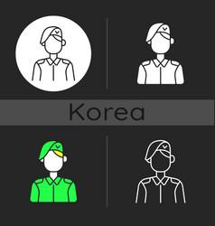 Korean military dark theme icon vector