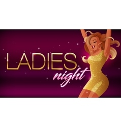 Ladies night banner Beautiful glamorous vector