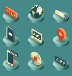 Languages color isometric icons vector