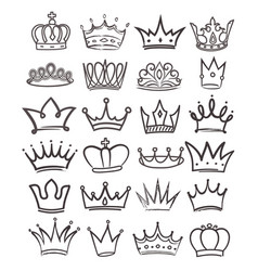 Large set black and white royal crowns vector