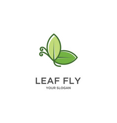 leaf fly logo vector image
