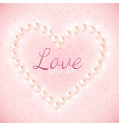 Light pink ornate background with pearly heart vector image