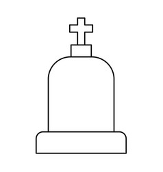 line tombstone with cross and religion funeral vector image