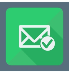 Mail icon envelope with accept sign flat design vector