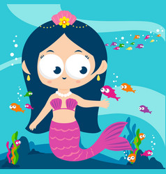 mermaid swimming in sea vector image