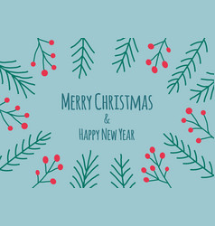 merry christmas happy new year text decorated with vector image