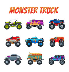 monster trucks vehicles collection heavy cars vector image