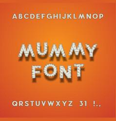 mummy bandage font halloween typeface vector image