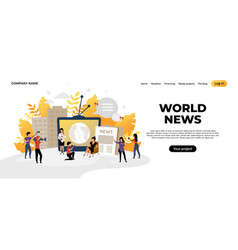 news landing page mass media and online news vector image
