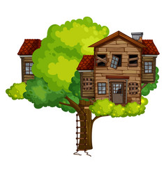 Old treehouse on the tree vector
