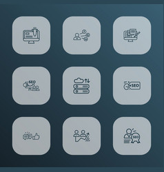 Optimization icons line style set with seo vector